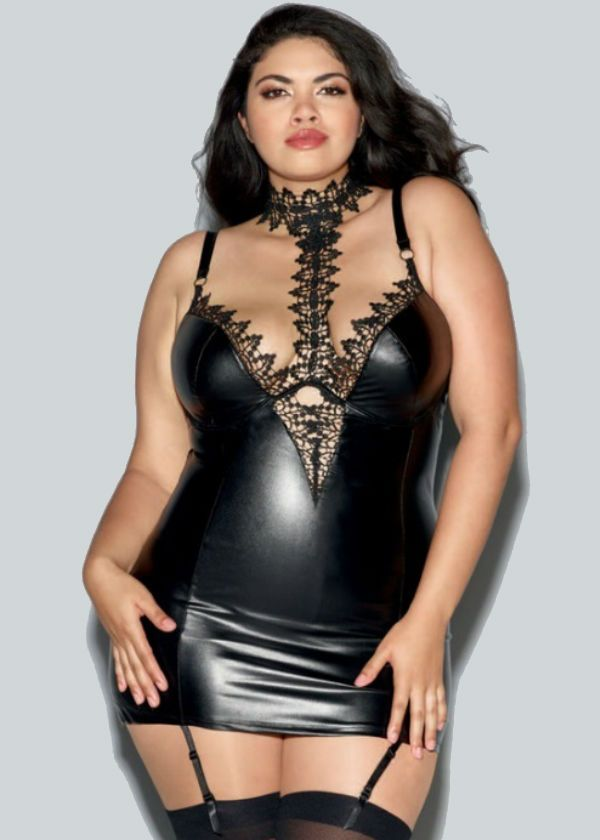 Faux leather bbw chemise lingerie with plunging neckline and garter straps