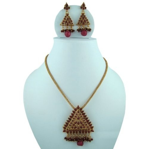Amazon.com: Indian Jewelry Faux Ruby Stone Studded Polki Style Kundan Gold Finish Necklace Sets: Indian Designer: Jewelry  $39.99