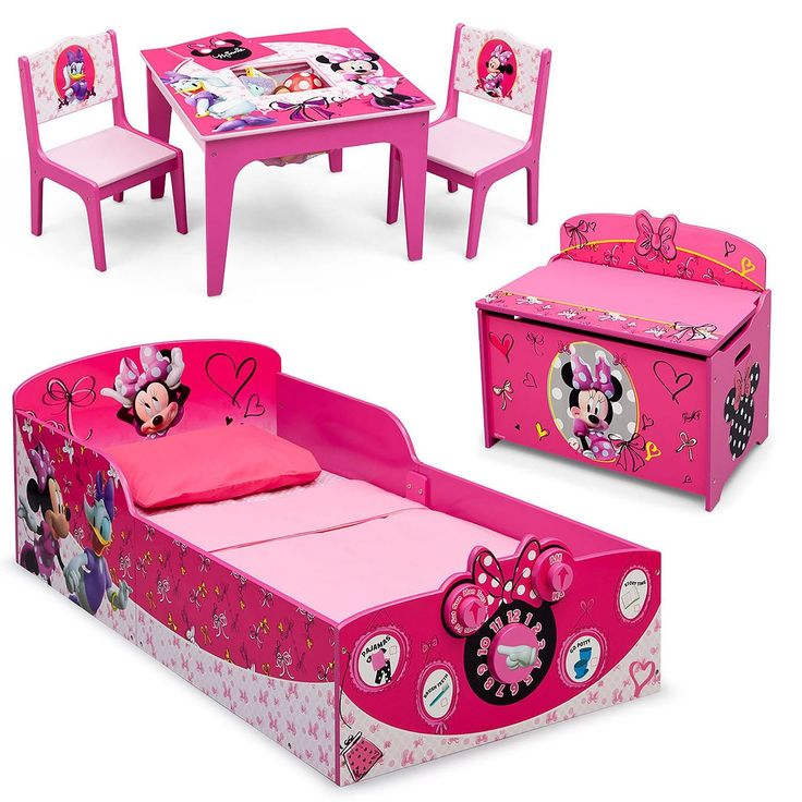 Minnie Mouse Toddler Bedroom Set includes the Minnie