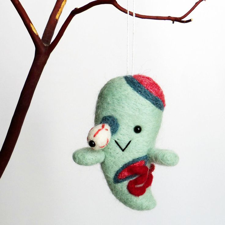 needle felted zombie ghost halloween decoration felt ghost ornament horror character doll by fuzzonme on - Etsy Halloween Decorations
