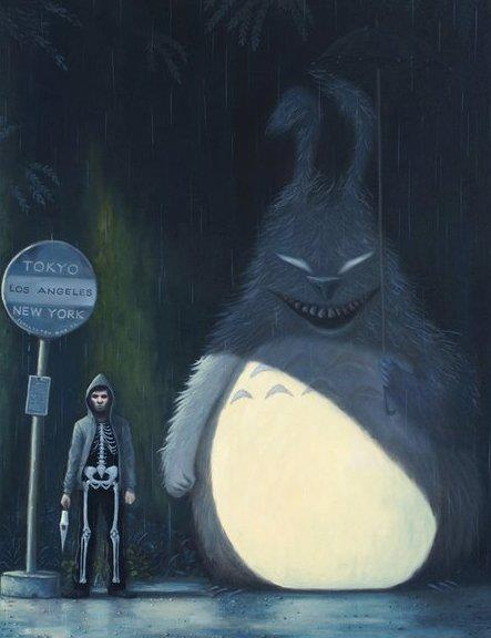 Donnie Darko / Frank Totoro.  This is referencing two favorite movies, but it does kind of tarnish Totoro a bit.