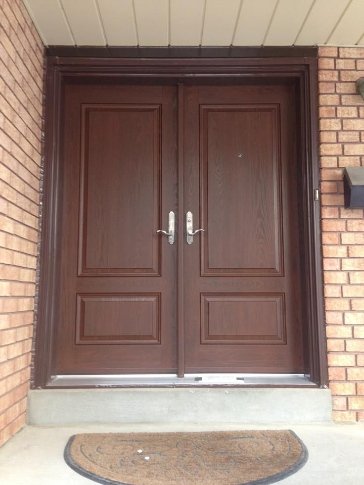 Beautiful Double Fiberglass Door   2 Panel With Light Walnut Stain