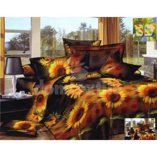 Flanelové posteľné obliečky tmavohnedej farby so žltými slnečnicami