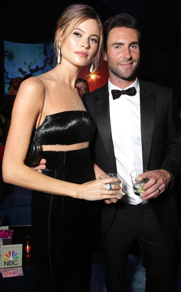 Behati Prinsloo & Adam Levine from 2015 Golden Globes After-Party Looks  Is there a more drop-dead gorgeous couple in existence? We think not.