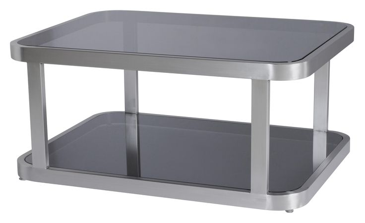 James cocktail Table with Brushed Stainless Steel and Smokey gray Glass Top and shelf.