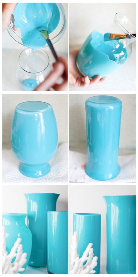 Enamel Paint + Clear Glass Vase = Easy, Beautiful Painted Enamel Vases!