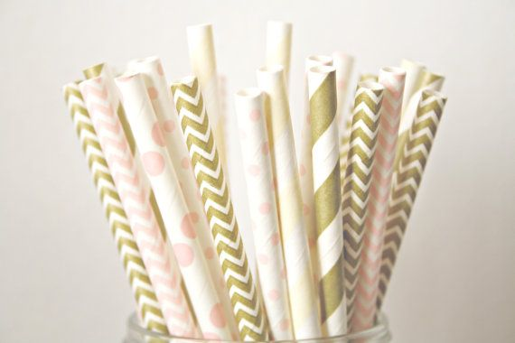 Blush Pink, Champagne and Gold Paper Straws, Blush and Gold Wedding Decor, Baby Shower Decorations, Shabby Chic Rustic Buffet Table