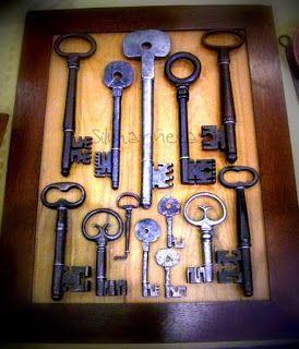 Cuadro de llaves antiguas en la feria de desembalaje 2013 en el BEC-