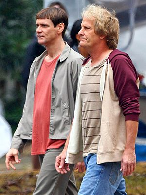 Jim Carrey & Jeff Daniels Look Dumber Than Ever (and That's a Good Thing)  on the set of Dumb and Dumberer.
