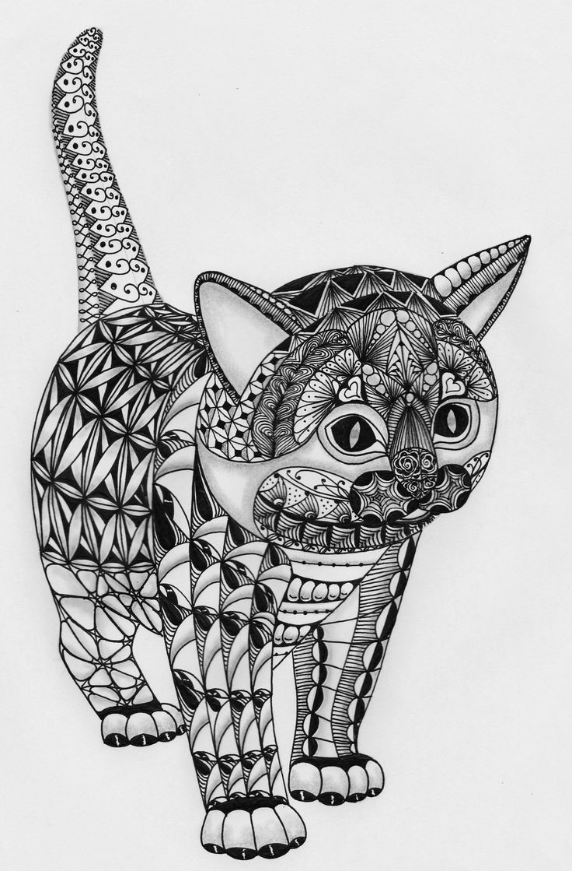 Ben Kwok's Template No 009 Kitten Mandala coloring