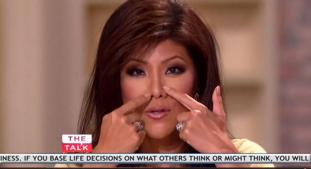 Julie Chen denies on 'The Talk' that she had surgery on her nose.