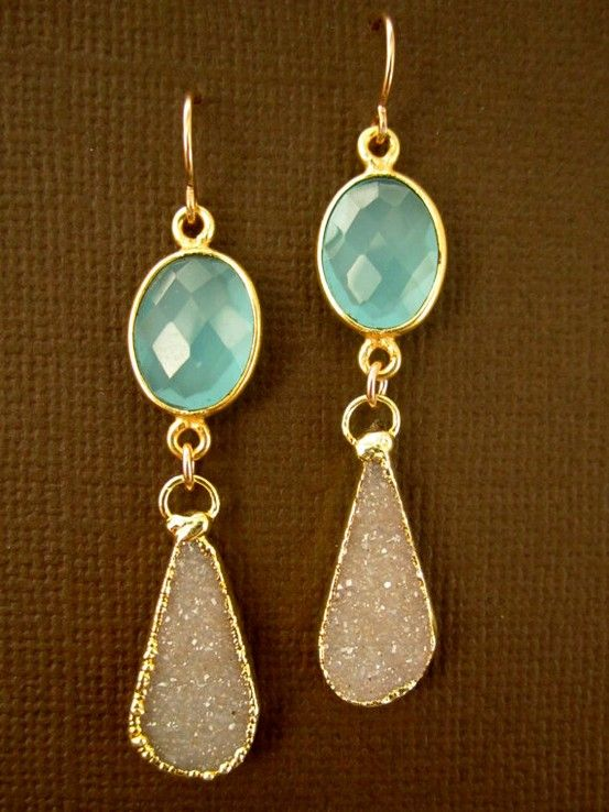 aqua marine and crystal with gold accent
