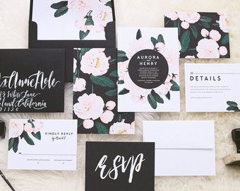 Aurora Wedding Invitation & Correspondence Set / Vintage Florals and Modern Accents / Sample Set