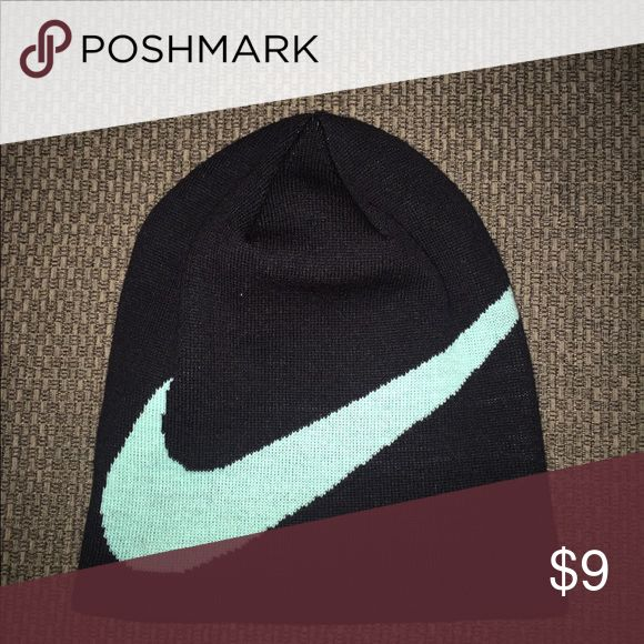 Nike wrap beanie swoosh snowboard hat Like brand new worn once! Black and tourquoise Nike Accessories Hats