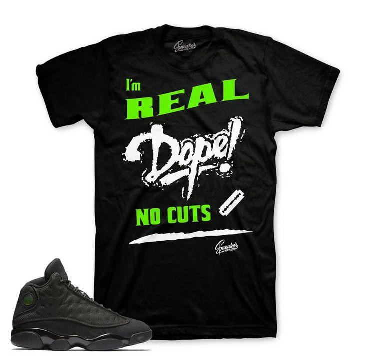 Jordan 13 Black Cat Shirt - No Cuts - Black