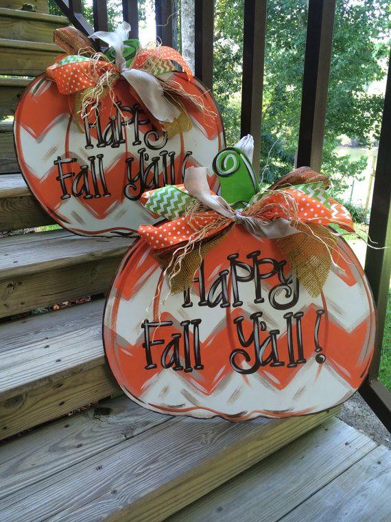 Chevron Fall Pumpkin Door Hanger by WhimsyGirlArt on Etsy