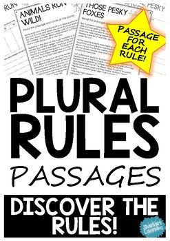 Want your students to discover and learn the plural rules! These reading passages covers everything you need!  This product includes passages and activities to encourage students to discover the plural rules through reading and inquiry.Each plural rule included has a passage and activity page to support their understandings.