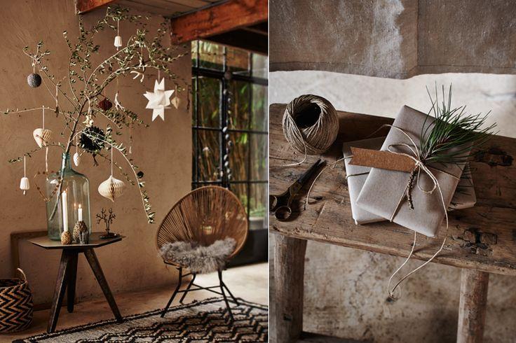 Minstens zo sfeervol als een kerstboom: olijftakken (zie foto hierboven, links). Ze zijn vaak erg mooi vertakt, zodat de kerstversiering er goed in te hangen is. Het vergrijsde blad blijft ongeveer een week fris, daarna droogt het in. Te koop of te bestellen bij de betere bloemist.