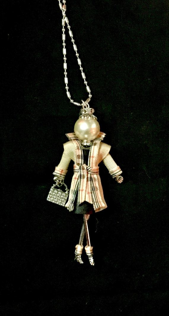 French doll pendant doll necklace in classy British style with plaid coat by Ellie's Belles