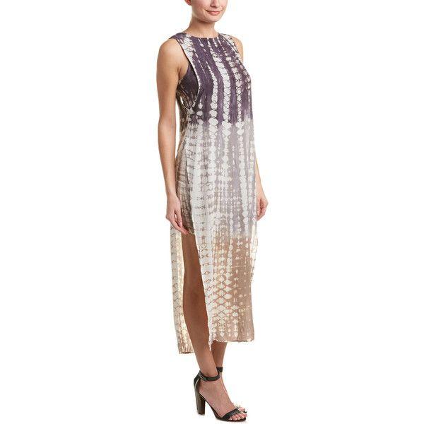 Young Fabulous & Broke Amara Midi Dress ($90) ❤ liked on Polyvore featuring dresses, nocolor, midi dress, open back midi dress, charcoal grey dress, print midi dress and print dress