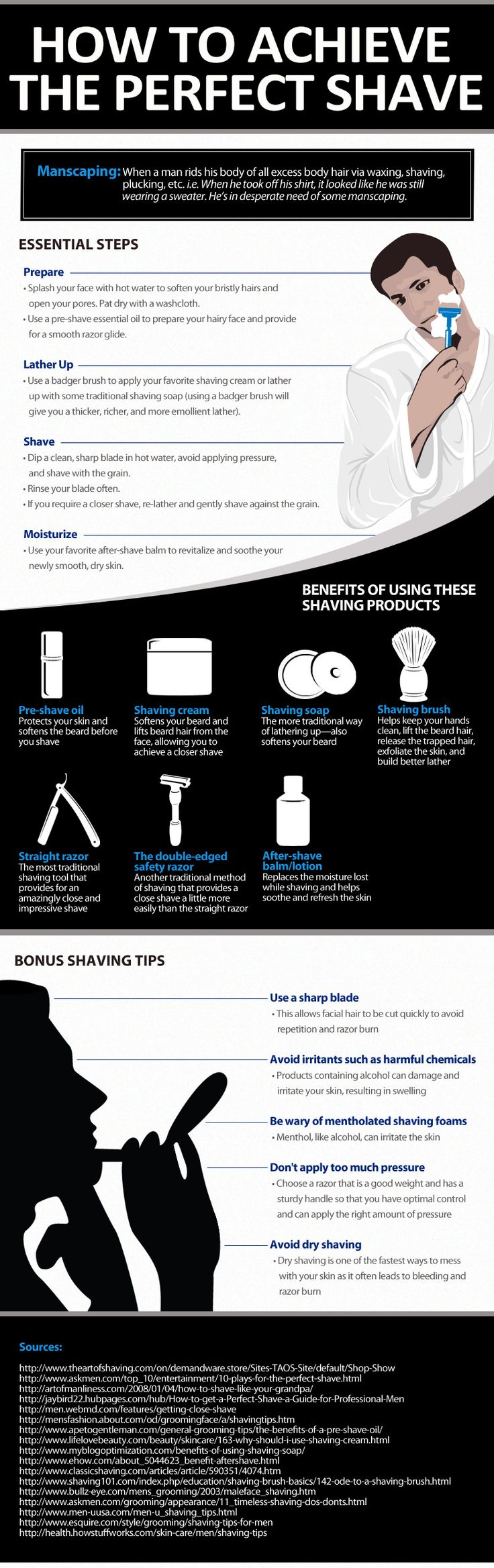Here is a really informative how to style graphic teaching men how to get the perfect shave.