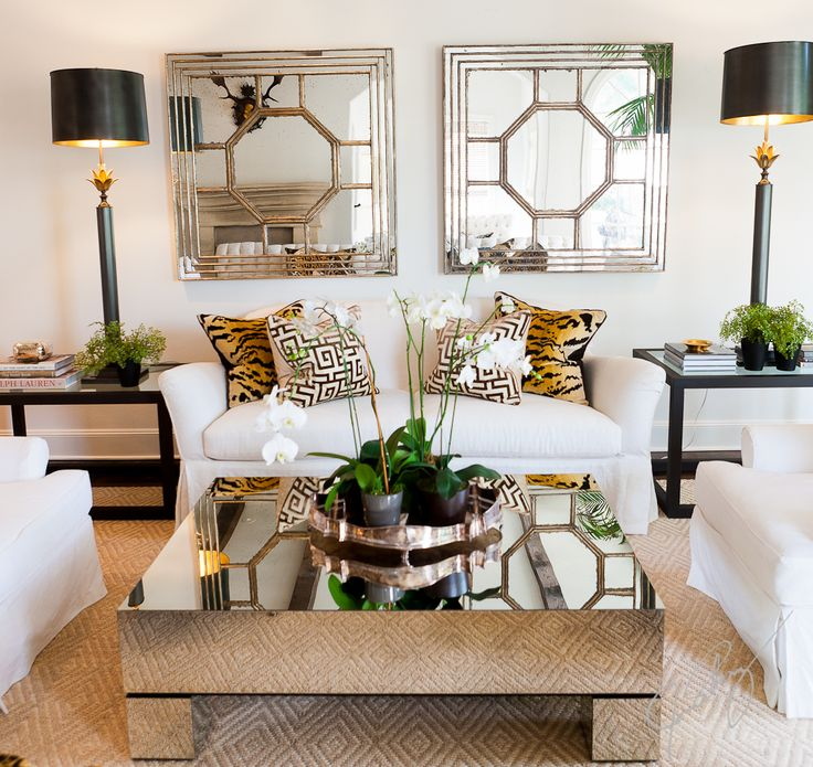 ... Slipcovered Furniture, Animal Print, And Mirrored Coffee Table./I Would  Do A Rustic Wooded Coffee Table And More Gold In The Roomu003dthrows Or Pillows Part 50