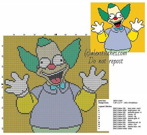 Krusty The Clown The Simpsons cartoons character free cross stitch pattern
