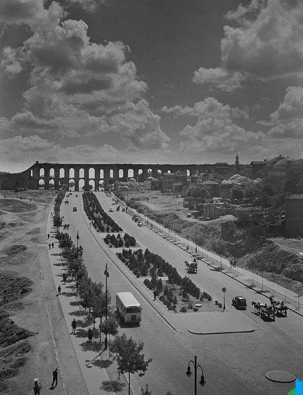 "Atatürk bulvarı, Bozdoğan kemeri 1958 . ""The Valens #Aqueduct (Bozdoğan )was completed in the year 368 AD during the reign of #Roman Emperor Valens, whose name it bears. The water system eventually reached over 250 kilometers (155 miles) in total length, the longest such system of Antiquity. The Valens Aqueduct was still the major water-providing system of medieval #Constantinople. The surviving section is 921 meters (3021 feet) long."" #Istanbul #Turkey."