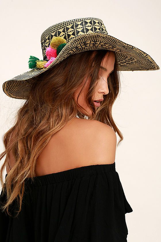 San Diego Hat Co. Fernanda Beige and Black Floppy Straw Hat