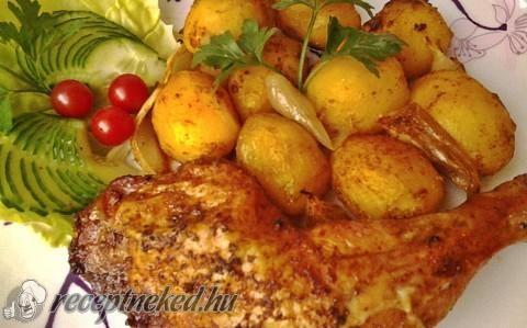Fűszeres csirkecombok vele sült burgonyával recept fotóval