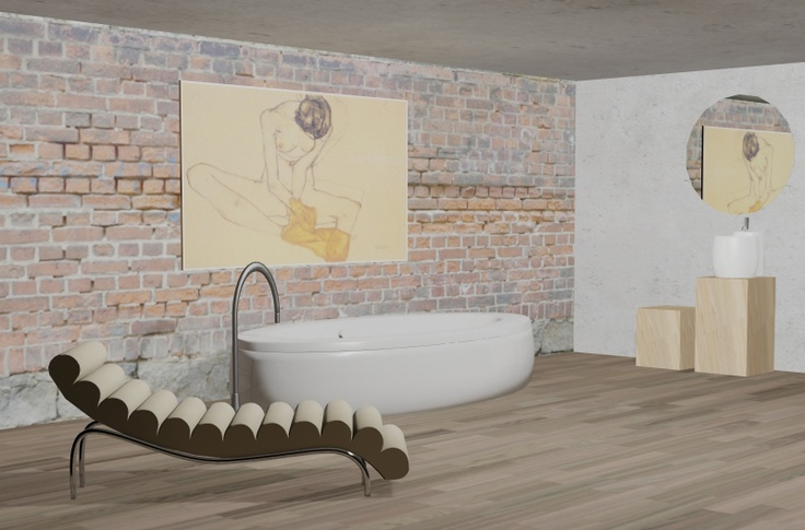 Render,Demeri estudio, Furniture, Design, Home Decor, Projects, Mobiliario, Diseño, Decoración, Proyectos, Egon Schiele, Brick, Bath, Baño, Wood, Philip Stark, Chaiselonge, 3D, Bathtub.