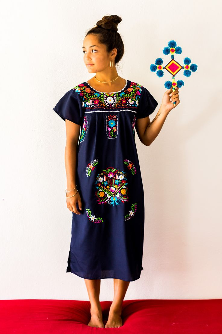 mexican embroidered dress in navy blue by Erica Maree