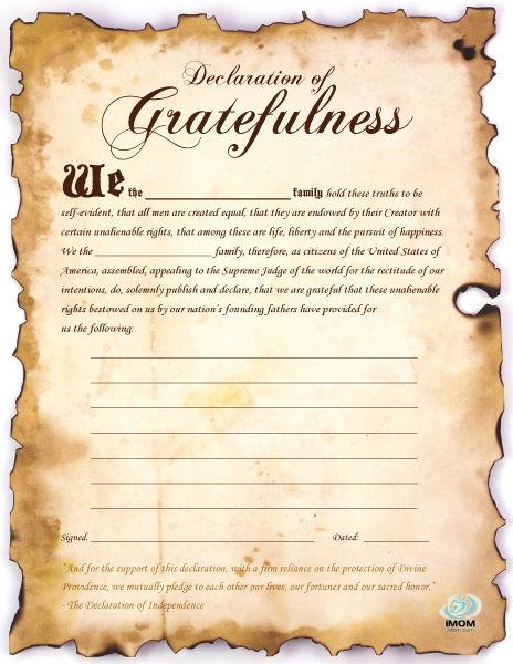 A great fill in the blank to teach kids: 1) about the signing of the Declaration of Independence and 2) to show what we are grateful for as Americans