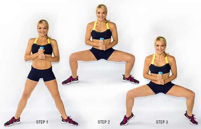 Plie Squat Calf Raise--this will have your inner thighs and your calves toned in no time.