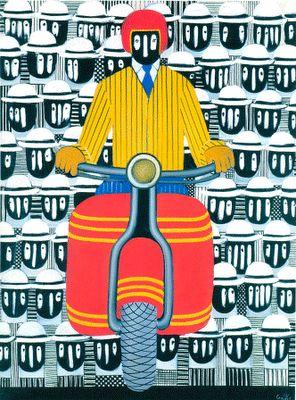Γιάννης Γαΐτης, Giannis Gaitis, (1923-1984), «Μοτοσικλετιστής», π. 1967, λάδι σε μουσαμά, 132x99 εκ.