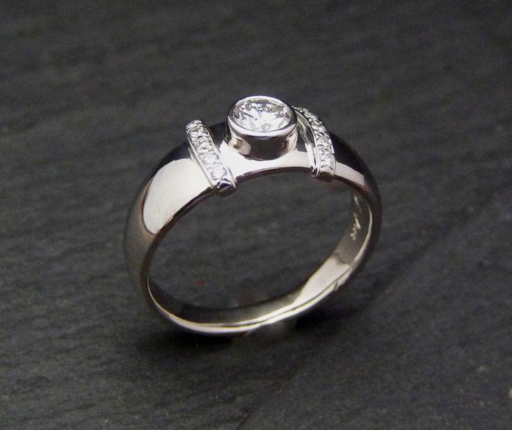 Elegant diamond ring, diamond engagement ring, white diamond ring, diamond band, bezel diamond ring, 14K white gold engagement diamond ring by Baiwy on Etsy https://www.etsy.com/listing/233746540/elegant-diamond-ring-diamond-engagement