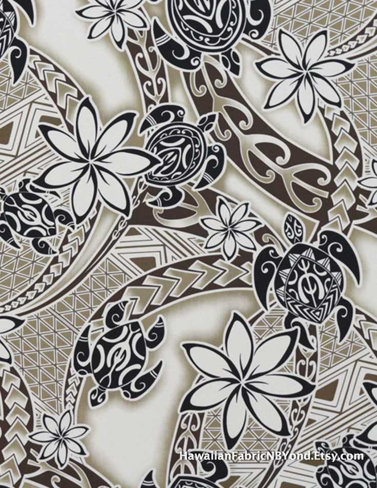 Maori fabric: sea turtles, tiare flowers and tribal tattoo symbols. Cotton. Check it out at HawaiianFabricNBYond.Etsy.com