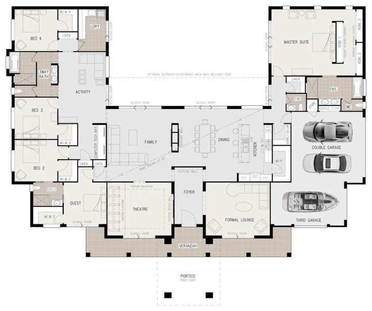 This could work. Theatre and lounge would need to be offices though. U-shaped 5 bedroom family home