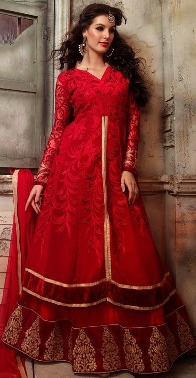 USD 74.83 Red Georgette Indo Western Anarkali Suit 42518