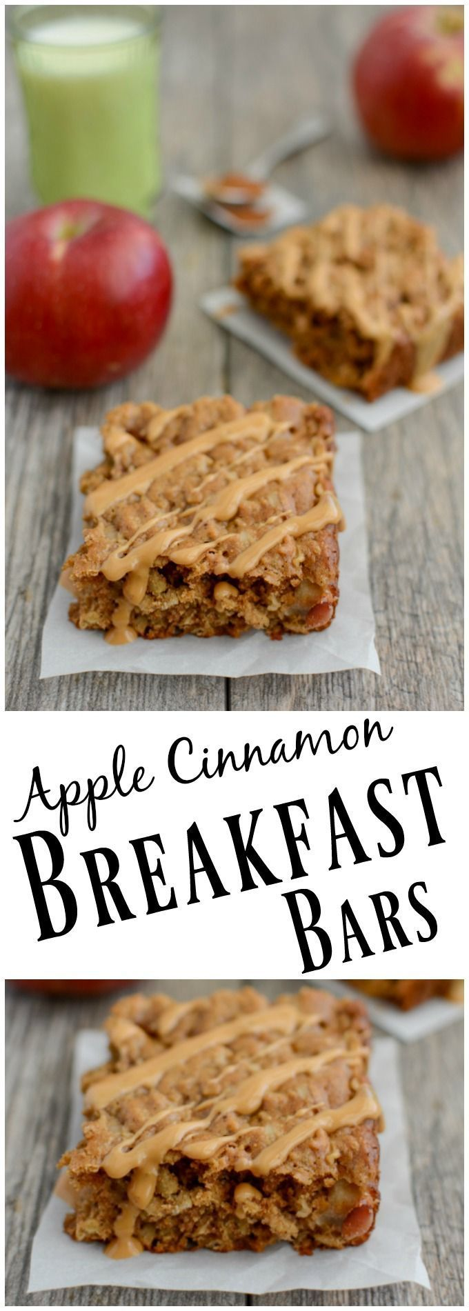 Bursting with fall flavor, these Apple Cinnamon Breakfast Bars are kid-friendly and full of protein and fiber for a healthy breakfast or snack. (Vegan Oatmeal Cinnamon)
