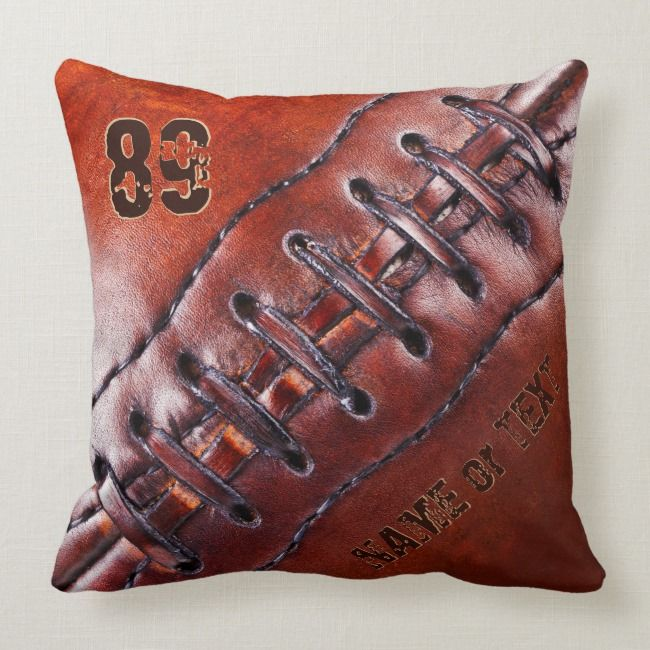 Jersey Number Name Cool Vintage Football Pillow Zazzle Com Football Pillows Vintage Football Fantasy Football Gifts