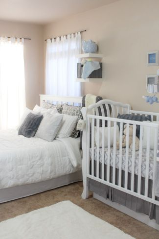 14 best images about nursery bedroom combos on pinterest for Master bedroom with crib ideas