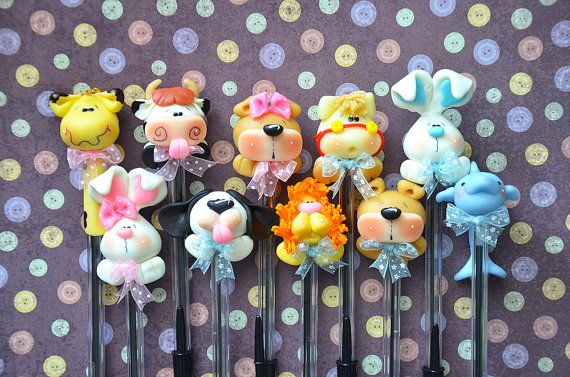 Pack of 10 Baby Animals Black Pens Cute Polymer Clay Cold Porcelain Figurine Favour Favor Baby Shower Gift