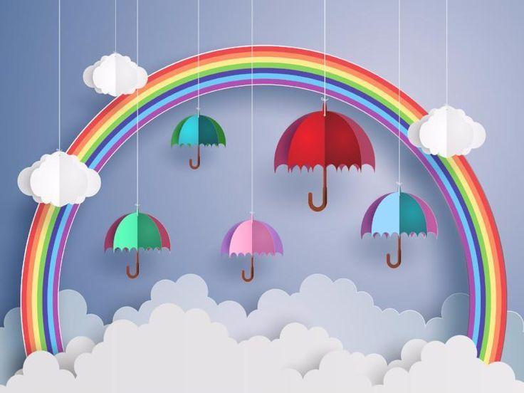 Kate Rainbow umbrella cloud kids/new child backdrop images – #new child #ne…