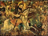 Chronology: A History of the Shiite-Sunni Split  ~A painting depicts the battle of Karbala in 680, in which Imam Hussein engaged a superior Arab army.