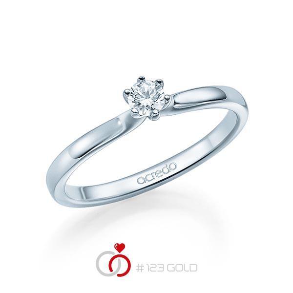 Verlobungsring Diamantring 6 Krappen, Zungschiene, Breite: 1,90, Höhe: 1,30- Legierung: Weißgold 585/- - Steinbesatz: 1 Brillant 0,15 ct. tw, si
