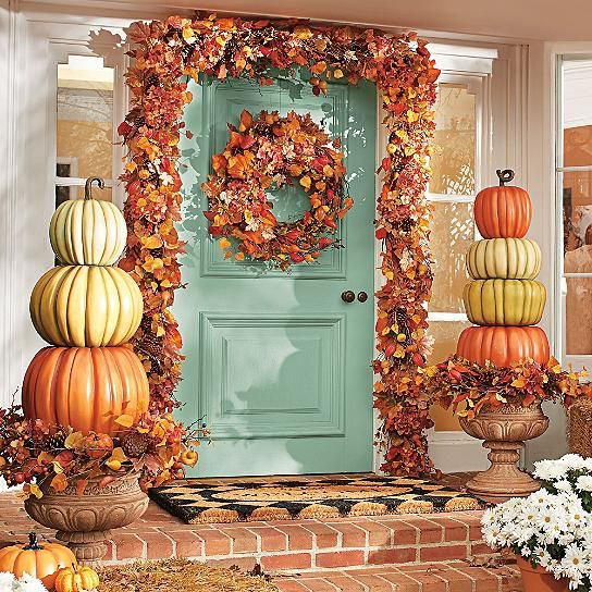 Give them a warm fall welcome with our everlasting All-weather Pumpkin Topiaries. Attempting such a fanciful display with natural pumpkins simply won't stack up. Our designers have done all the artful arranging for you, plus these decorative autumn topiaries will last for years. Shown with the Evelyn Planter (sold separately) All-weather topiaries made up of colorful pumpkin designs Topiaries feature rich color and whimsical curled stems Substantia...