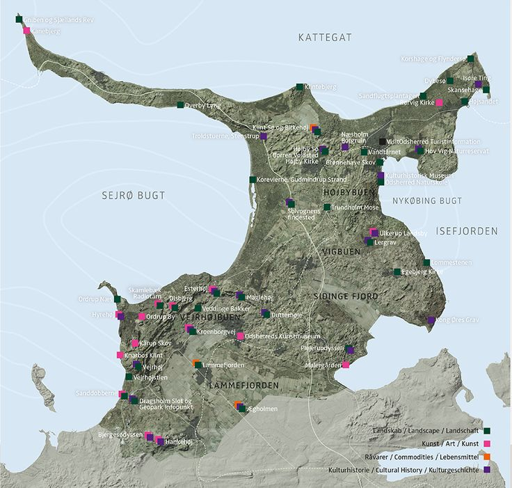 Map of the Geopark with the 51 attractions in landscape, cultural history, art and commodities.