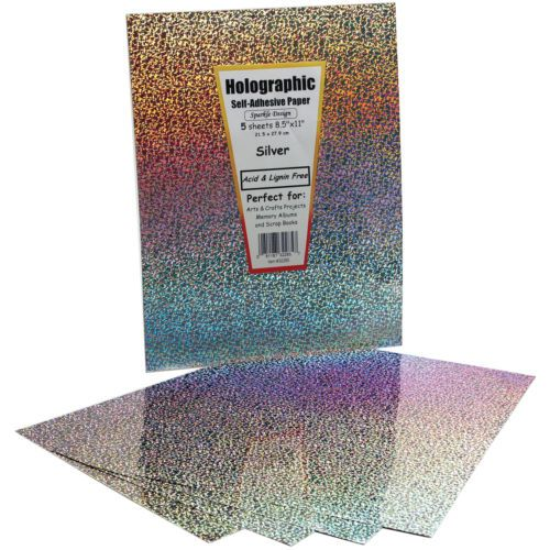 Self-Adhesive-Specialty-Paper-8-5-034-X11-034-5-Pkg-Silver-Holographic
