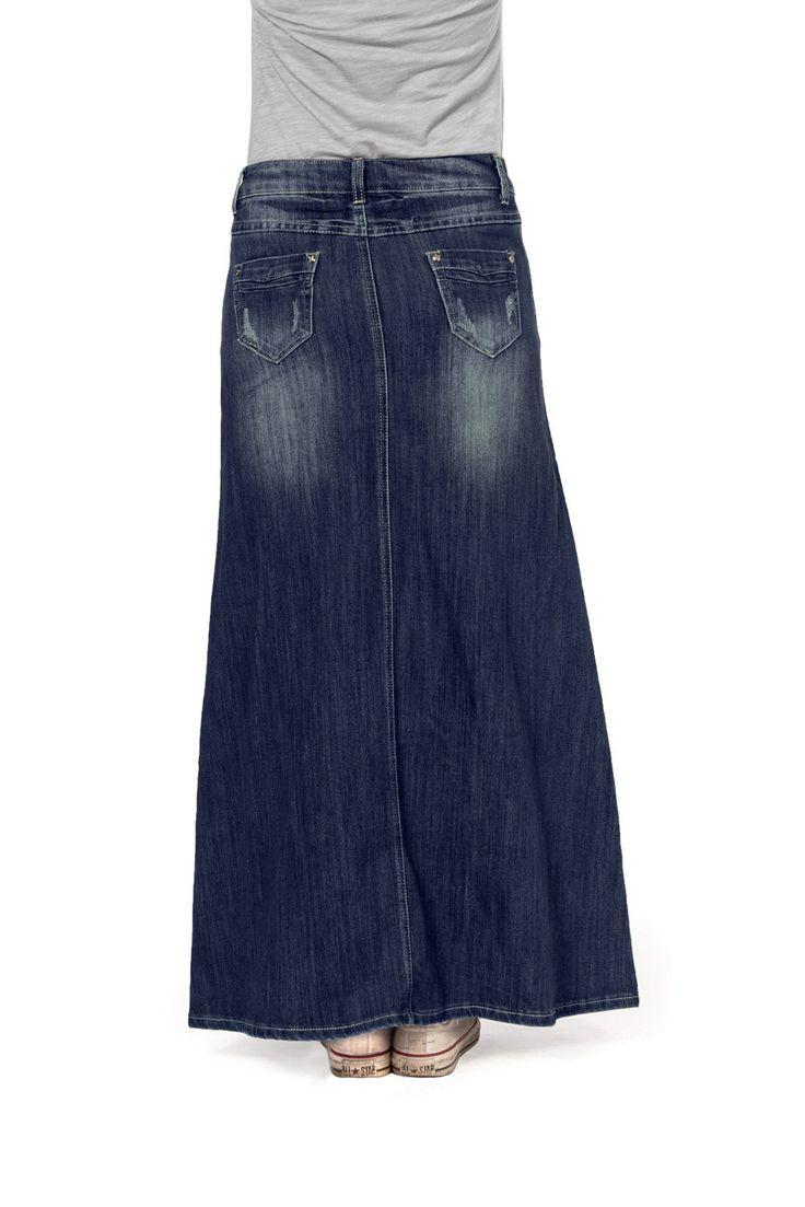 Long Dark Wash Denim Skirt From Skirts Online